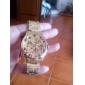 Relógio de Pulso Masculino Dourado com Pulseira de Aço Inoxidável