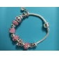 European Pandoran pink Rhinestone  flower  Pandent Silver Alloy Charm Bracelet 2015 new item new arrivale (1 pc)