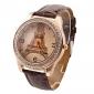 Luksusowy zegarek damski diament Wieża Eiffla pu zespół