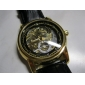Herren-eleganten PU-Leder automatische analoge Armbanduhr (schwarz)