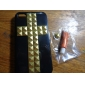 Golden Square Rivets Covered Cross Pattern Hard Case with Glue for iPhone 4/4S (Assorted Colors)
