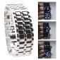 Silvery Metal Strip Digital Lava Style Iron Sport Womens Blue LED Faceless Wrist Watch