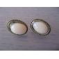 Antique Copper Alloy Acrylic Oval Pattern Earrings