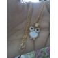 Women's vintage rhinestone natural shell owl Pendant necklace N498