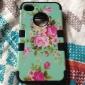 3 em 1 híbrido padrão de flor elegante penoy difícil de silicone macio de volta caso cobrir apto para iPhone 4 / 4S (cores sortidas)
