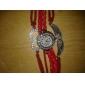 Femme Montre Tendance Bracelet de Montre Montre Diamant Simulation Quartz Imitation de diamant aile Cuir Bande Etincelant BohèmeBlanc