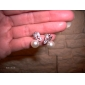 Pearl CZ Butterfly Stud Earrings