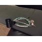 (1 PC) de 23 centímetros Moda Mulheres White Pearl Chain & Ligação Bracelet (rosa, verde)