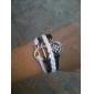 Eruner® Women's Multilayer Alloy Anchor Infinite Charms Handmade Leather Bracelets