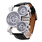 Men's Watch Military Three Time Zones Leather Band