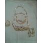 z&plaqué or x® salix feuilles diamant anneau blanc collier boucle d'oreille et bracelet ensemble de bijoux
