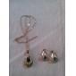 vattendroppe värdigas crytal och platina legering halsband med örhänge