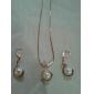 Мода Золотой Имитация Pearl (Включает в себя ожерелье и серьги падение) Комплект ювелирных изделий (медный)