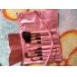 7PCS 메이크업은 화려한 분홍색 가죽 가방과 합성 머리 브러쉬
