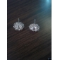 Women's Simple shiny Rhinestone Sunflower zircon earrings E576