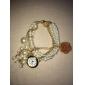 Femme Montre Tendance Bracelet de Montre Quartz Alliage Bande Perles Blanc