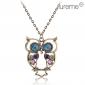 Antique Copper Alloy Zircon Owl Pattern Necklace