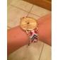 Femme Montre Tendance Bracelet de Montre Quartz Tissu Bande Bohème Bayadère Café Rouge Vert Rose Bleu clair