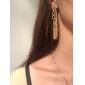 Ретро женщины долго коренастый серьги падение цепи костюмированный золотой кисточкой цепь уха 00du