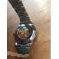 Herr Armbandsur Automatisk självuppdragande Ihålig Engraving Rostfritt stål Band Silver Stämpla-