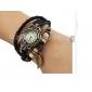 아가씨들 패션 시계 팔찌 시계 석영 PU 밴드 보헤미안 블랙 화이트 블루 레드 오렌지 브라운 그린