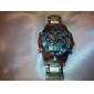 ASJ Masculino Relógio Esportivo Relógio de Pulso Japanês Quartzo LCD Calendário Cronógrafo Impermeável Dois Fusos Horários alarmeAço