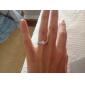 Ring Imitation Diamond Love Elegant Zircon Cubic Zirconia Platinum Plated Round Silver Jewelry For Wedding Party Birthday Engagement Daily