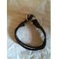 Кожаный браслет с застежкой-якорем (22см)