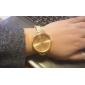 женская круглый золотой циферблат сплава группа кварцевых мода часы