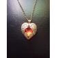 Diamante do coração do pêssego colar das asas facetada Ruby Red Longo