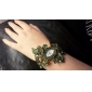 Mulheres Bohemia Estilo de cristal verde Folha Estilo liga de prata relógio pulseira de quartzo