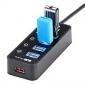 stw USB3.0 5-porta hub usb com poder individual muda adaptador de alimentação 5v / 2a leds
