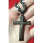eruner®double серебряный крест библии титана стали ожерелье ювелирных изделий