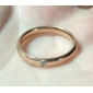 Ms Rose Gold Plated Surface Crystal Diamond Exquisite Titanium Steel Ring