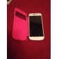 Для Кейс для  Samsung Galaxy с окошком / Флип Кейс для Чехол Кейс для Один цвет Искусственная кожа Samsung S4 Mini