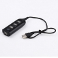 4 Port Mini USB 2.0 Hub with 60cm Cable (Black)