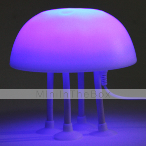 2-Mode USB Powered LED Jellyfish Lamp with 4 Sucker Stands (White)
