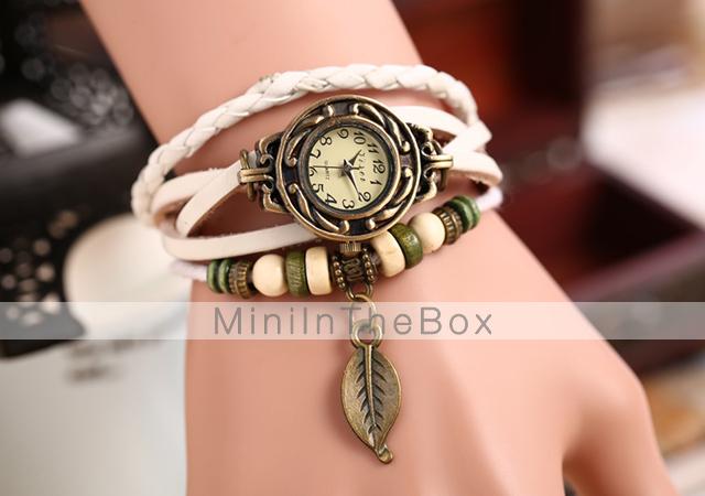 Women's Watch Bohemian Leaf Pendent Leather Weave Bracelet ...