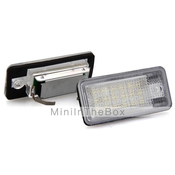 Un paio auto targa lampade lampadine bianche 18 LED SMD luci 12v per audi a3 a4 8e RS4 A6 RS6     -> Lampade A Led Rs