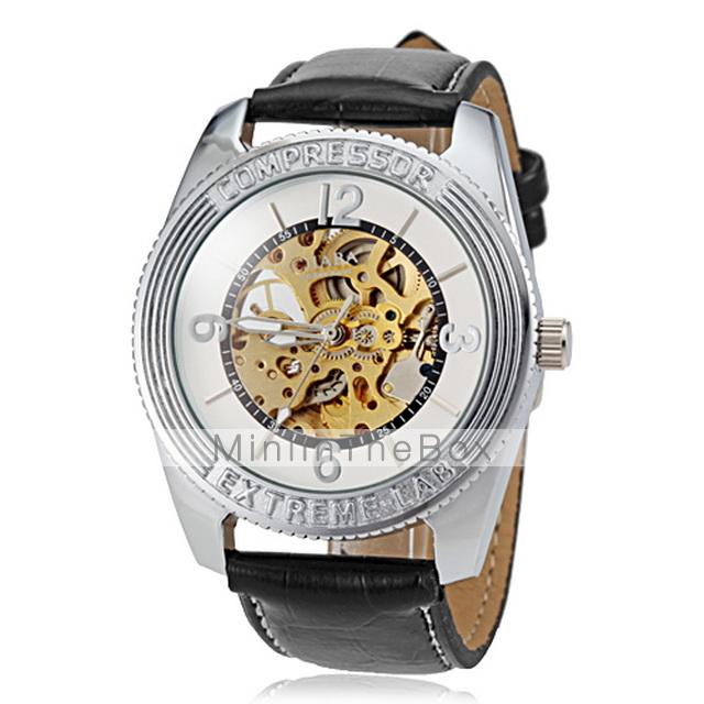Мужская Авто Механическая Золотой Скелет Черный Кожаный ремешок наручные часы. Мужская 3D Стиль циферблат черный