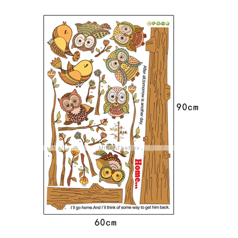adesivi murali Stickers murali, belle gufi adesivi murali albero pvc del 2992299 2017 a €13.99