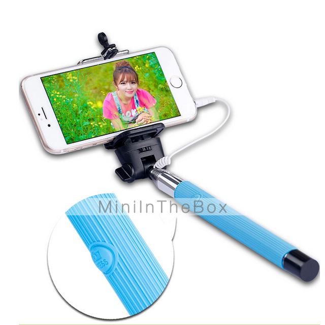 wired selfie stick self timer adjustable stand for ios and android assorted colors 3594512. Black Bedroom Furniture Sets. Home Design Ideas