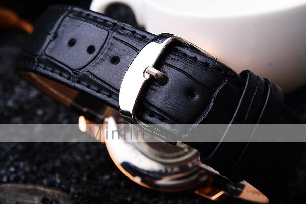 herren armbanduhr automatikaufzug wasserdicht transparentes ziffernblatt leder band schwarz. Black Bedroom Furniture Sets. Home Design Ideas