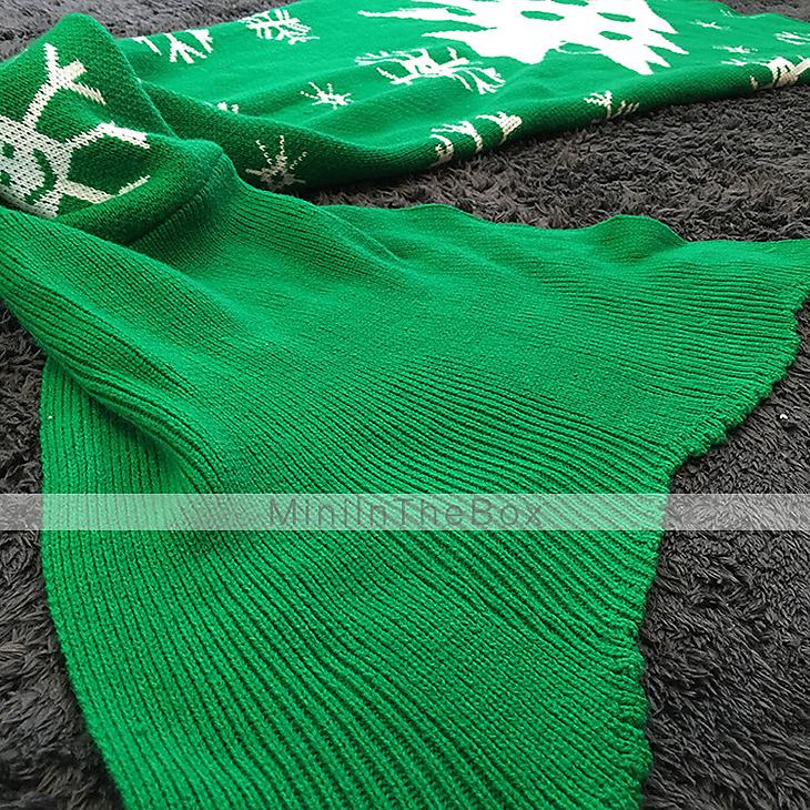 Kerst zeemeermin deken patroon gehaakte staart deken volwassen kind bed zacht slapen garen - Bed grijze volwassen ...