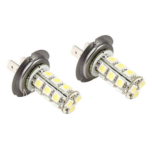 h7 5050 SMD luci bianche a 18 led per lampade per auto fendinebbia con lampeggiante (2 pack, DC     -> Lampade A Led Dc