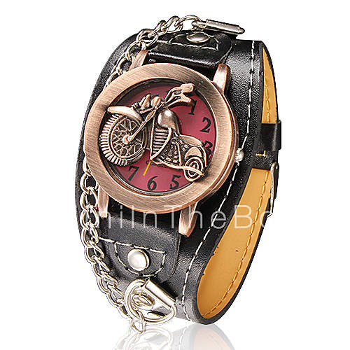 moto motif cadran rond pu bande de montre bracelet quartz analogique pour hommes couleurs. Black Bedroom Furniture Sets. Home Design Ideas