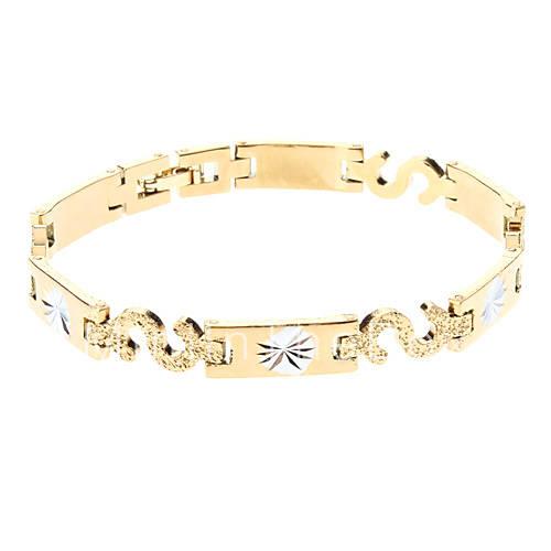 Мужская Золотой браслет серебряный Двухместный матирования Цвет 104 распродажа со скидкой, покупайте дещевле Мужская