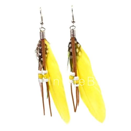 z la mode x chute de tension des boucles d 39 oreilles plumes multicolore jaune vert bleu 1. Black Bedroom Furniture Sets. Home Design Ideas
