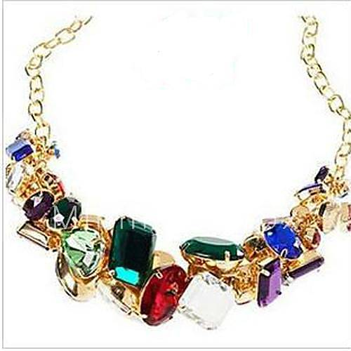 classic multicolor resin crystal statement necklace. Black Bedroom Furniture Sets. Home Design Ideas
