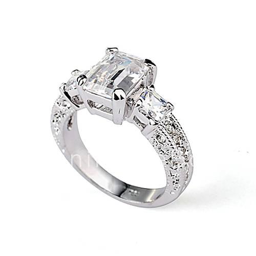 Rectangle Emerald Cut CZ Zircon Engagement Ring 2016 – $8 99